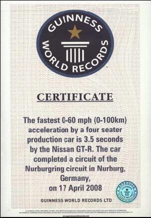 Nissan GT-R nel Guinness