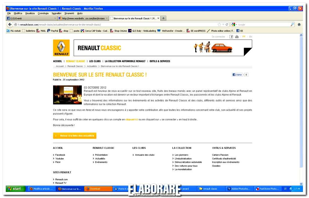Photo of Nuovo sito Internet Renault Classic