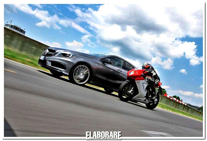 Photo of Mercedes A 45 AMG e MV Augusta F3 800 speed test