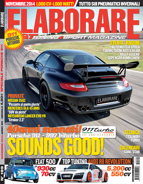 Photo of Cover Story Porsche 911 e 997 Turbo Elaborare Novembre 2014 in edicola