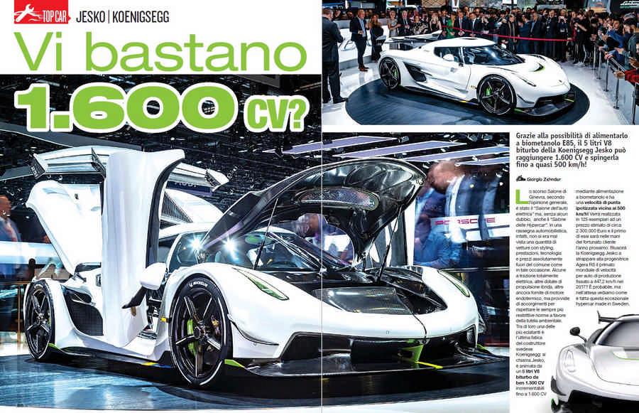 Koenigsegg Jesko top car elaborazione 1.600 CV con bioetanolo