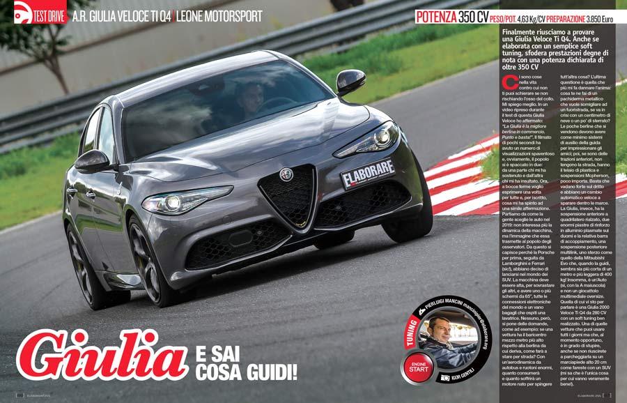 Alfa Romeo Giulia Veloce Ti Q4 elaborata 350 CV con preparazione Leone Motorsport